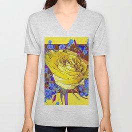 YELLOW ART & YELLOW ROSE BLUE MORNING GLORY Unisex V-Neck