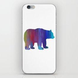 Rainbow Watercolor Dripping Bear iPhone Skin