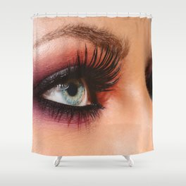 Cosmetics & make-up. Close up woman eye with beautiful shades smokey eyes makeup. Modern fashion Shower Curtain