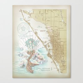 Anais Nin Vintage Mermaid Map Canvas Print