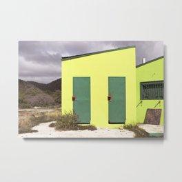 Lime green Caribbean building Metal Print