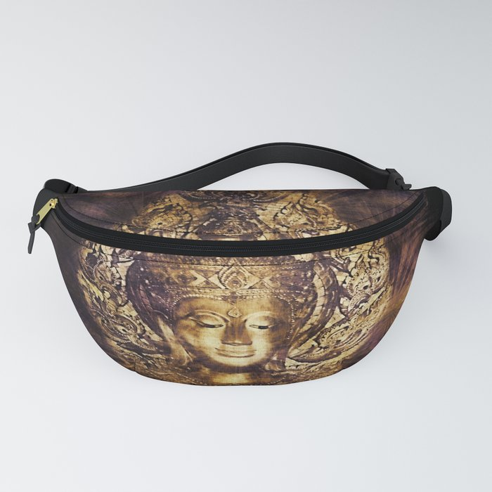 buddha gold in black Fanny Pack