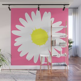 Pink Daisy (Yellow) Wall Mural