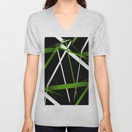 Seamless Grass Green and White Stripes on A Black Background Unisex V-Neck