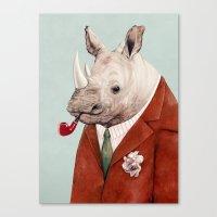 rhino Canvas Prints featuring Rhino by Animal Crew