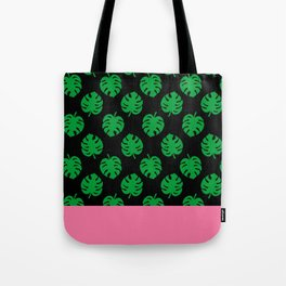 Philodendrons Pattern - Green on Black Tote Bag
