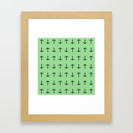 Anchors Away - Black anchors pattern on pastel green Framed Art Print