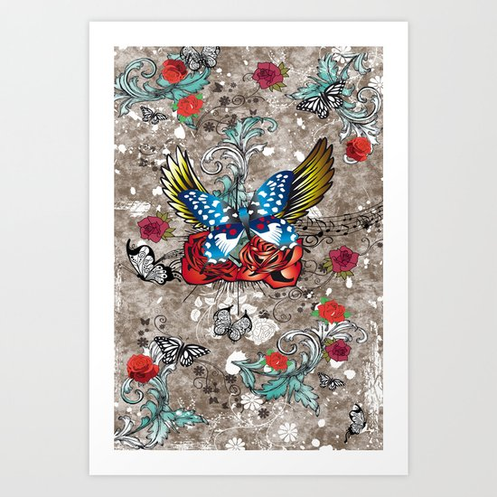Butterfly with Roses Art Print