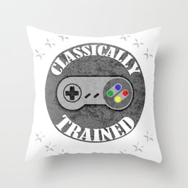 Classically Trained Retro 4 Button Video Game Shirt Throw Pillow