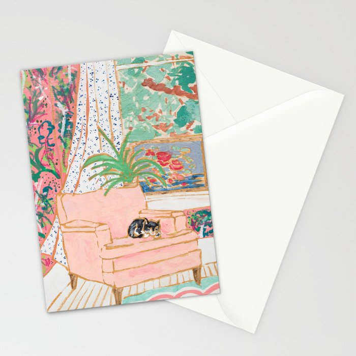 Catnap - Tuxedo Cat Napping in Chair by the Window Stationery Cards