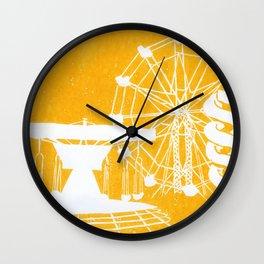 Seaside Fair in Yellow Wall Clock