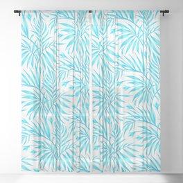 Waikiki Palm - White / Aqua Sheer Curtain