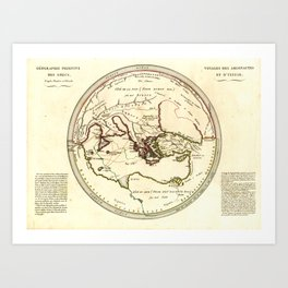 Vintage Map of the Journey of Ulysses / Odysseus / The Argonauts (1812) Art Print