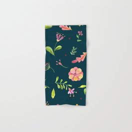 Watercolor Summer Flower Pattern Hand & Bath Towel