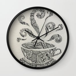 But first, Tea - tea coffee lover zentangle Wall Clock