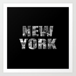 New York (black & white photo type on black) Art Print