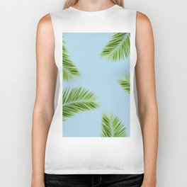 Tropical Palm Leaf Foliage - sky blue Biker Tank