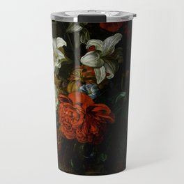 "Ernest Stuven ""Poppies, lilies, roses and other flowers in a glass vase on a draped marble ledge"" Travel Mug"