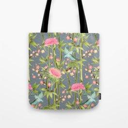 Bamboo, Birds and Blossom - grey Tote Bag