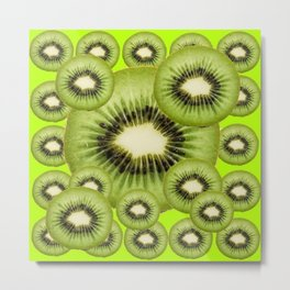 GREEN KIWI SLICES MODERN ART Metal Print