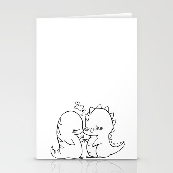 Dino Love Black and White Stationery Cards