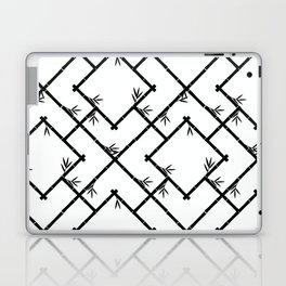 Bamboo Chinoiserie Lattice in White + Black Laptop & iPad Skin
