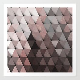 Triangles Putty Mauve Art Print