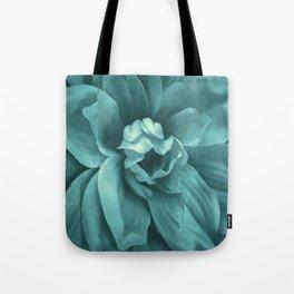 Soft Teal Flower Tote Bag