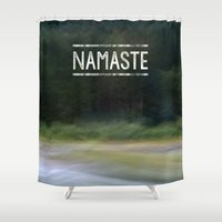 namaste Shower Curtains featuring Namaste by Angela Fanton