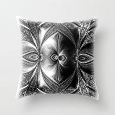 Abstract.White+Black Peacock. Throw Pillow