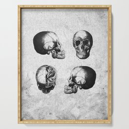 Vintage Medical Engravings of a Human Skull Serving Tray