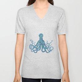 Blue Turquoise Shimmering Octopus Unisex V-Neck