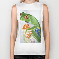 frog Biker Tanks featuring Frog by The Traveling Catburys