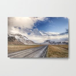 The road past the volcano. Metal Print