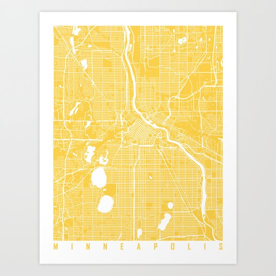 Minneapolis map yellow Art Print