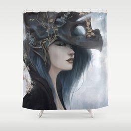 Bluish Black - Mysterious fantasy mage girl portrait Shower Curtain