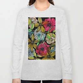 Flower Bouquet with black background Long Sleeve T-shirt