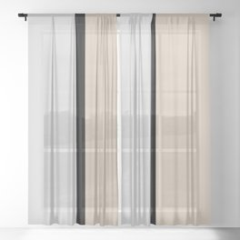 Two colors and black. Gray and Beige Sheer Curtain