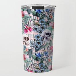 Flowers and Skulls (Pink) Travel Mug