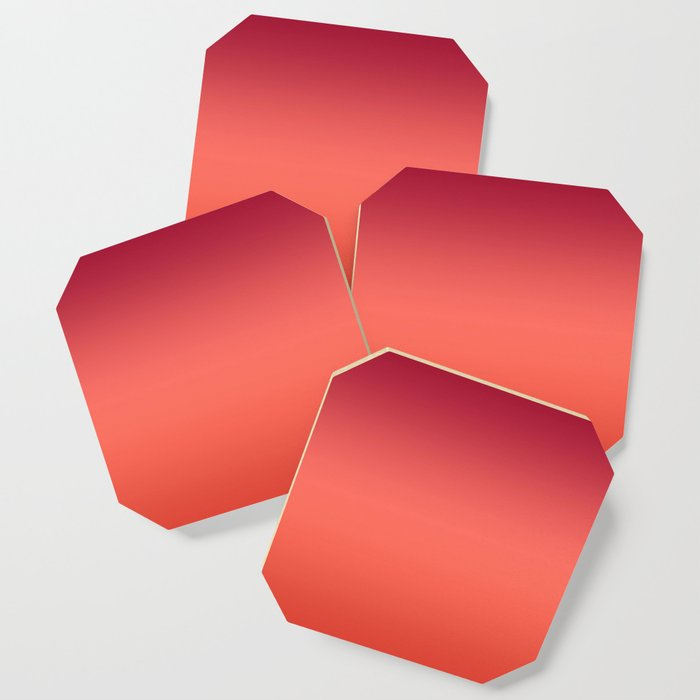 Living Coral Fiesta Jester Red Gradient Ombre Pattern Coaster
