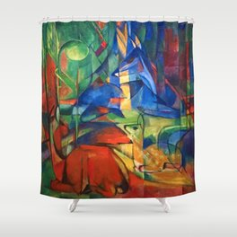 """Franz Marc """"Deer in the Forest II"""" Shower Curtain"""