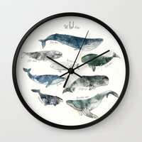 jazzberry blue Wall Clocks featuring Whales by Amy Hamilton