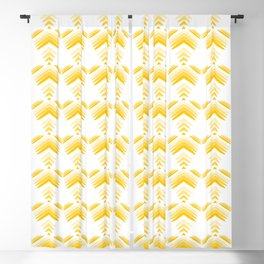 Pastel pattern of yellow hearts and flowers on a white background. Blackout Curtain