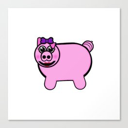 Girly Stuffed Pig Canvas Print