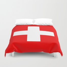 Flag of Switzerland - Authentic (High Quality Image) Duvet Cover