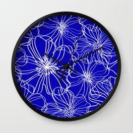 Floral, Line Art, Blue and White, Minimalist Art Wall Clock