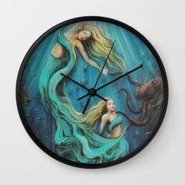 The Mermaid's Gift // Ocean Goddess Sea Siren Nymph Underwater Octopus Coral Fish Girl Feminine Wall Clock