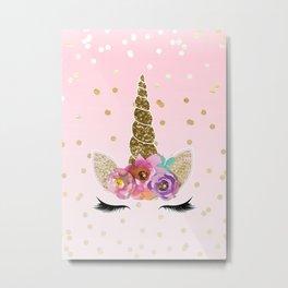 Floral Trendy Modern Unicorn Horn Gold Confetti Metal Print