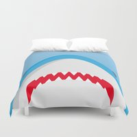 jaws Duvet Covers featuring Jaws by Daniel Anastasio
