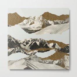 Golden Zugspitze Square / White Metal Print